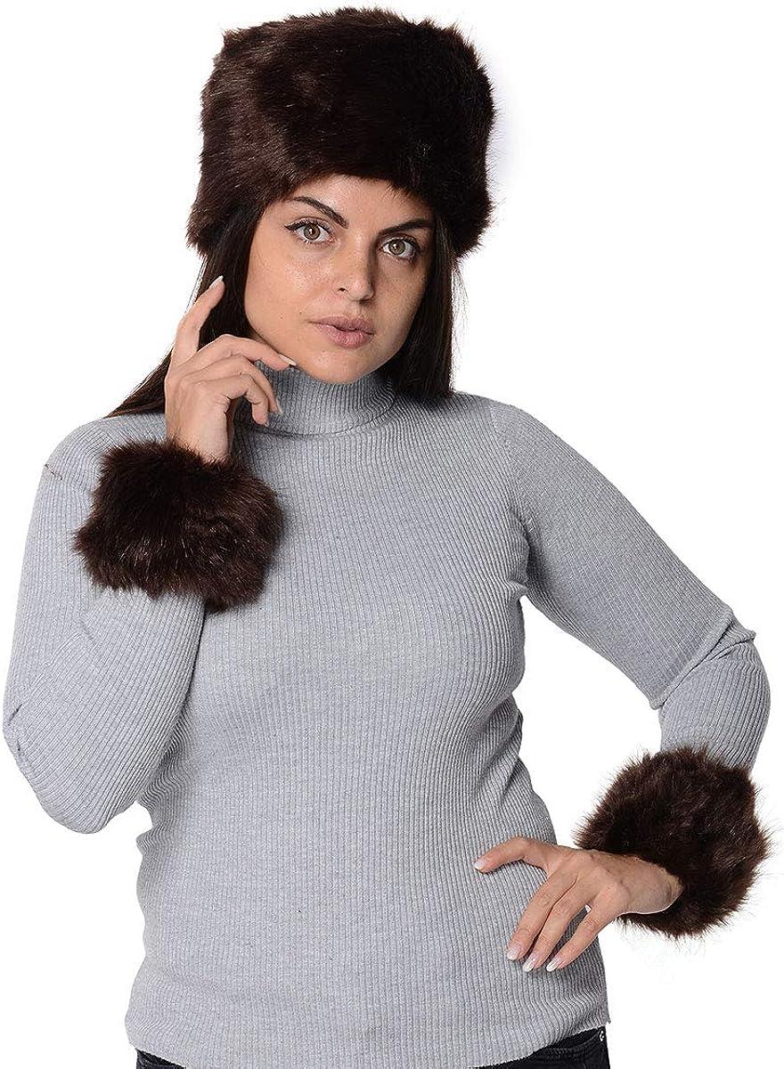 Brown Polyester Faux Fur Hat 1 Pair Cuff Bracelet Durable Comfortable Skin Friendly Fabric Stylish Fashion Vintage Winter Warm Caps Headband Earwarmer Earmuff