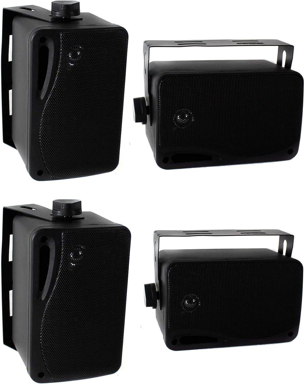 4 Pyle PLMR24B 3.5 400 Watt 3-Way Weather Proof Mini Box Speakers System Black