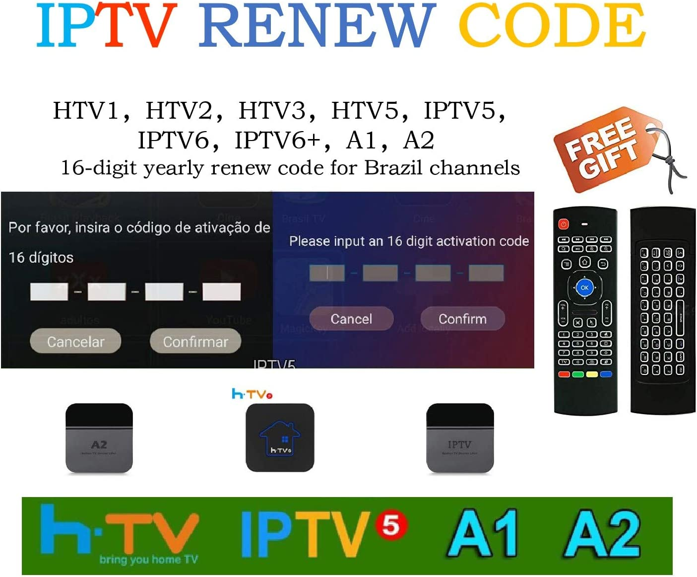 Brazil Brazilian TV Box extra 1-month Renew Code, Activation code for  A1/A2/ HTV/IPTV 5/6/6 plus 6+,Subscription 16-Digit Renew Code, One Year  with extra 1-month subscription service,TV box brazil cod: Amazon.ca:  Electronics