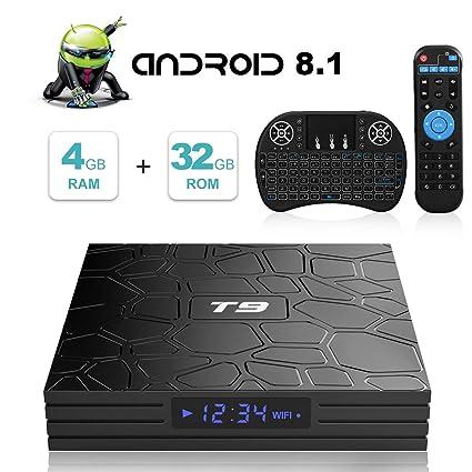 Android TV Box, T9 Android 8.1 TV Box con Mini Teclado inalámbrico 4GB RAM 32GB