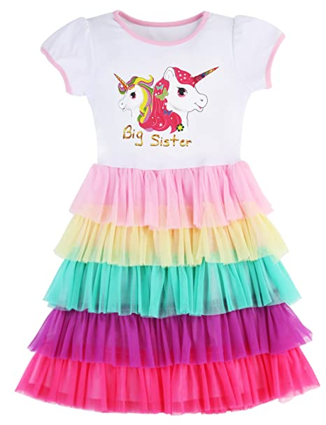 3948a09d7538 PrinceSasa Elegant Girls Clothes Unicorn Rainbow Party White Cupcake Short  Sleeve Big Sister Spring Dress for