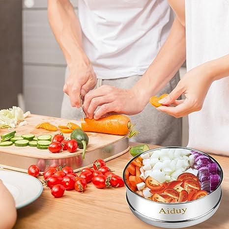 Sartén apilable para vaporizador para accesorios de ollas instantáneas de 5, 6 o 8 qt, acero inoxidable Aiduy para cocinar a presión, ideal para cocinar al ...