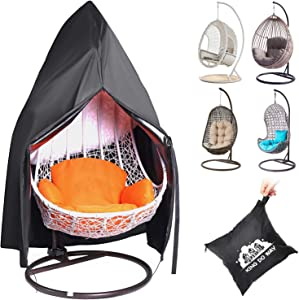 king do way 600D Patio Hanging Egg Chair Cover Waterproof Oxford Fabric Egg Swing Chair Covers Waterproof Anti-dust,for Outdoor Rattan Wicker Swing Chair,Patio Cocoon Egg Chair,Garden Furniture Cover