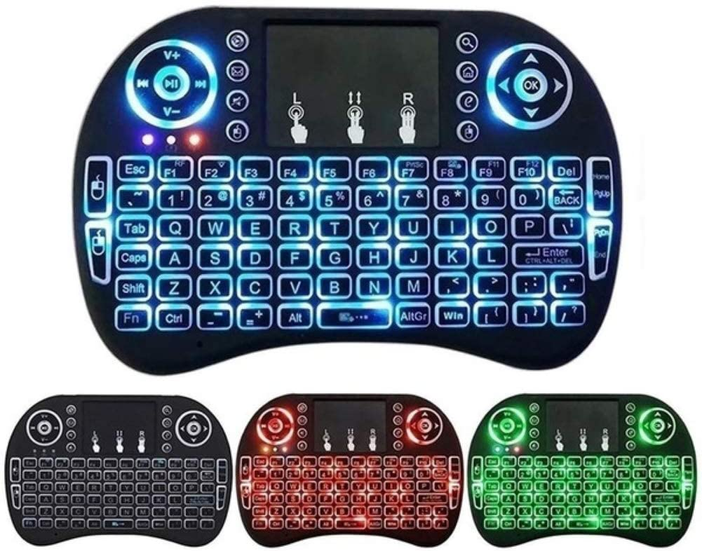Backlit QWERTY Keyboard for Computer//Laptop//Tablets//TV//Xbox//Projector English Mini Wireless Keyboard and Fly Mouse with TouchPad