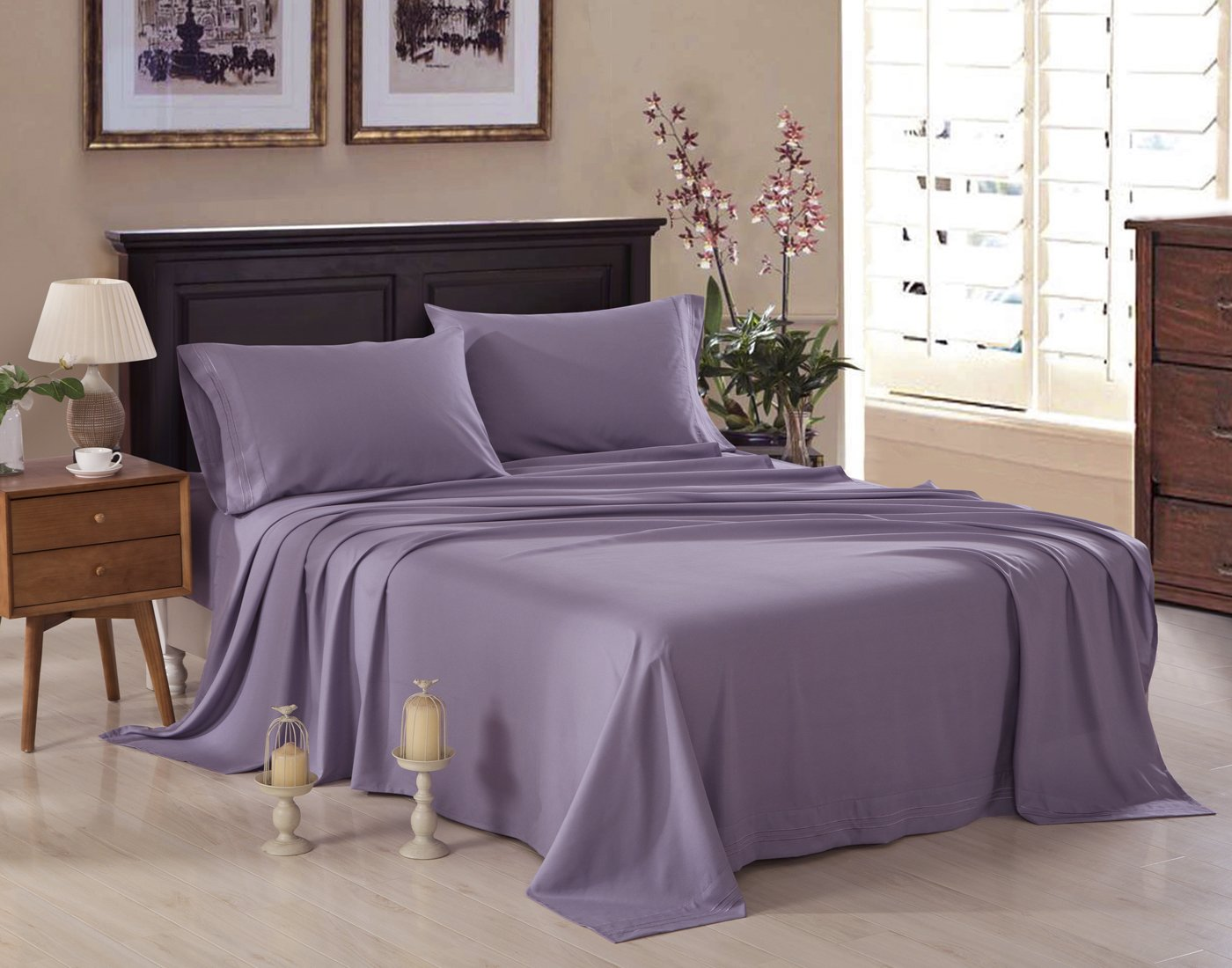 Honeymoon 1800 Brushed Microfiber Embroidered Bed Sheet Set, Ultra Soft, Full - Light Purple