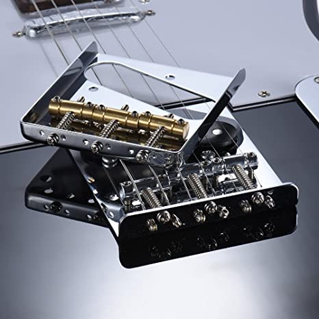 Festnight 3 Copper Saddle Ashtray Bridge Tailpiece Chrome Plated for Telecaster Tele Electric Guitar Replacement Part with Screws Wrench