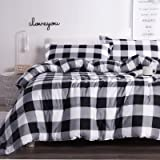 Andency Black Plaid Comforter Set Queen Size (90x90 Inch), 3 Pieces (1 Gingham Comforter and 2 Pillowcases), Soft Microfiber