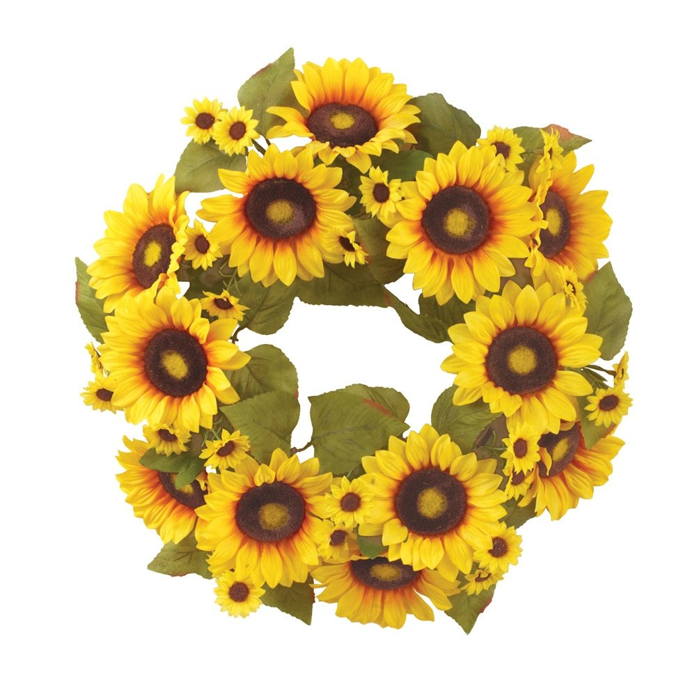 Collections Etc Sunflower Floral Front Door Wreath