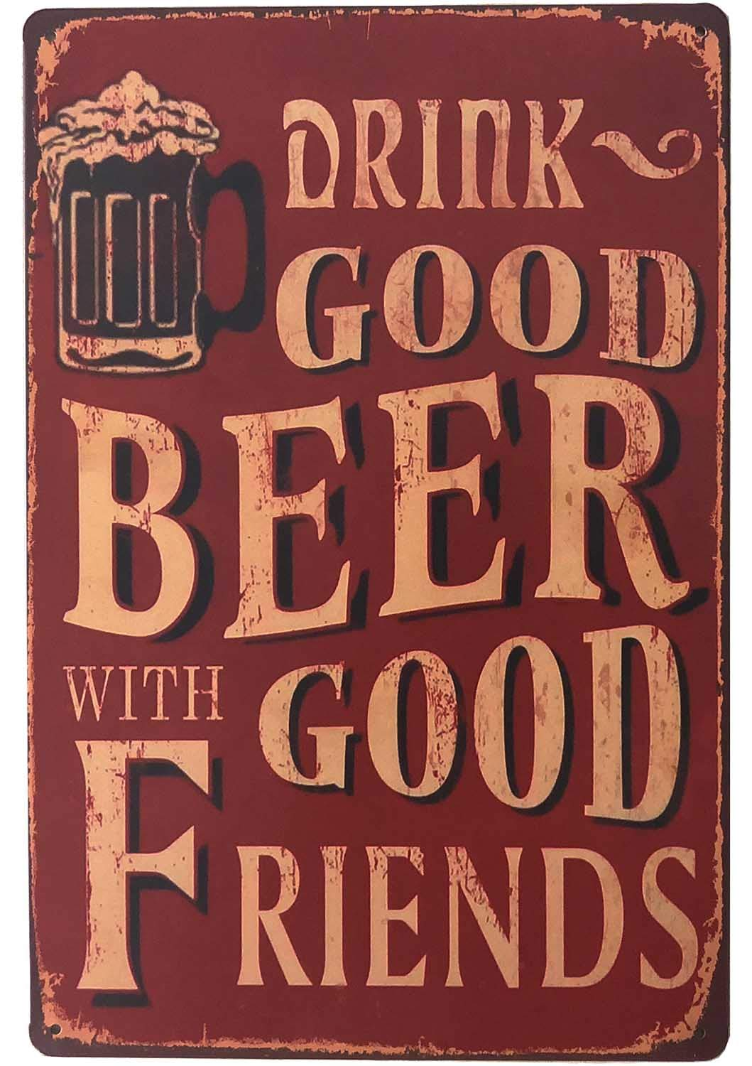 """SUDAGEN Vintage Beer Signs Bar Sign Funny Drink Good Beer with Good Friends Bar Accessories Metal Tin Signs for Man Cave 12""""x 8"""""""