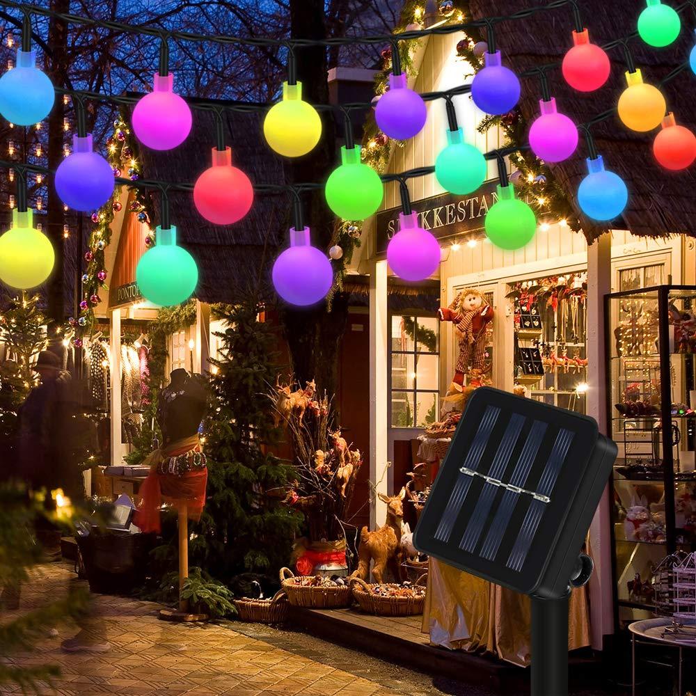 Weihnachtsbeleuchtung Außen Für Große Bäume.Lichterkette Solar Aussen Vegena Bunt Globe Led Lichterkette Außen