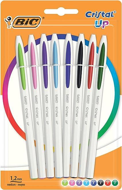 BIC Cristal Up bolígrafos punta media (1,2 mm) – colores Surtidos, Blíster de 8 unidades: Amazon.es: Oficina y papelería