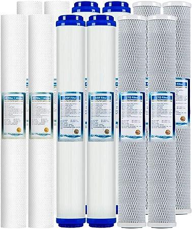 LZH FILTER Paquete de 12 Filtros Cartuchos de Recambio Universal 20 Pulgada para casa purificador de Agua de ósmosis inversa: Amazon.es: Hogar