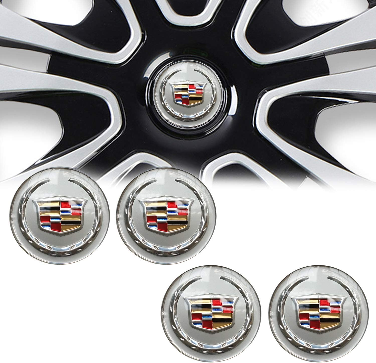 Silver 4 65mm for Cadillac Wheel Stickers Emblem Badge Wheel Hub Cap Center Cap Suitable for Cadillac ATS CTS EXT SRX XTS XLR compatible