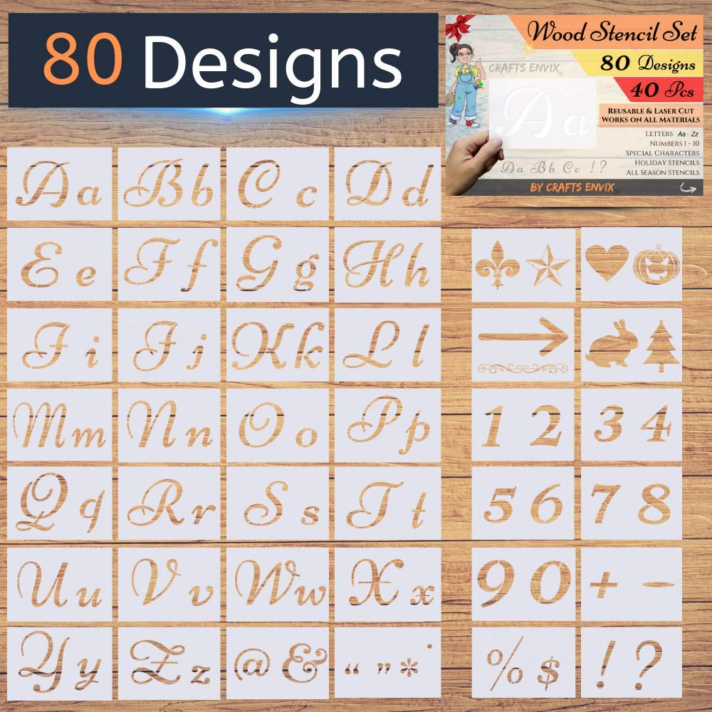 New! - 80 Designs - Letter Stencils for Painting on Wood - Alphabet with Calligraphy Font Upper and Lowercase Letters - Reusable Holiday Plastic Art Craft Stencils with Numbers and Signs - 40 Pcs by Crafts ENVIX