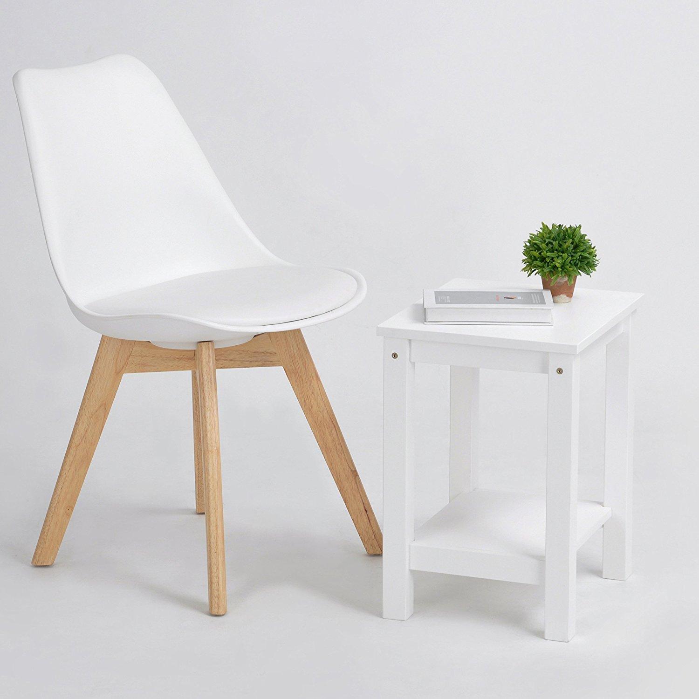 P&N Homewares Lorenzo Tulip Chair Plastic Wood Retro Dining Chairs White Black Grey Red Yellow Pink Green Blue WHITE Amazon Kitchen & Home