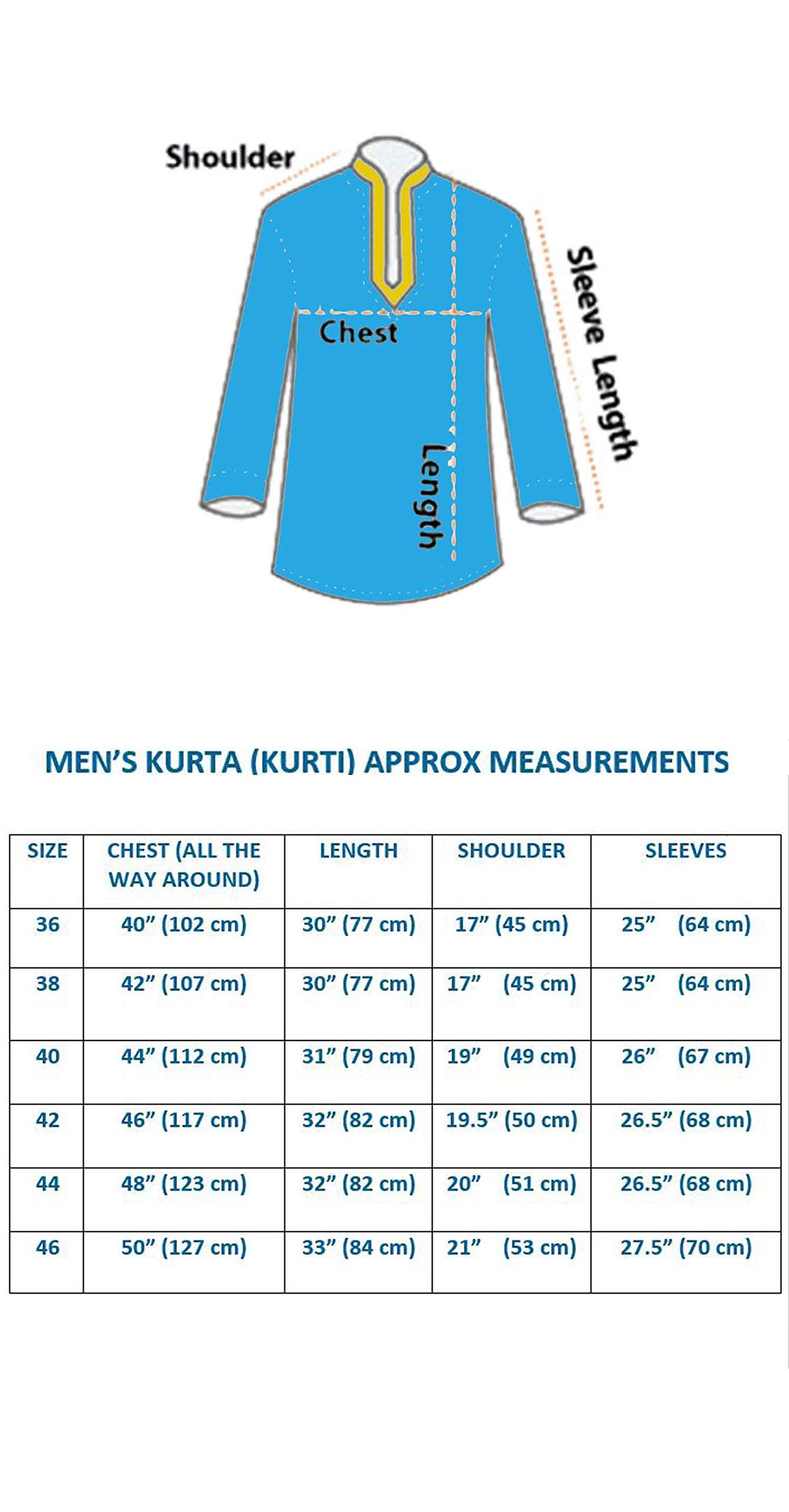 Men's Kurta Bollywood Party Wear Short Shirt 2006 (XXXL (Chest- 46 inches), Teal) by Desi Sarees (Image #3)