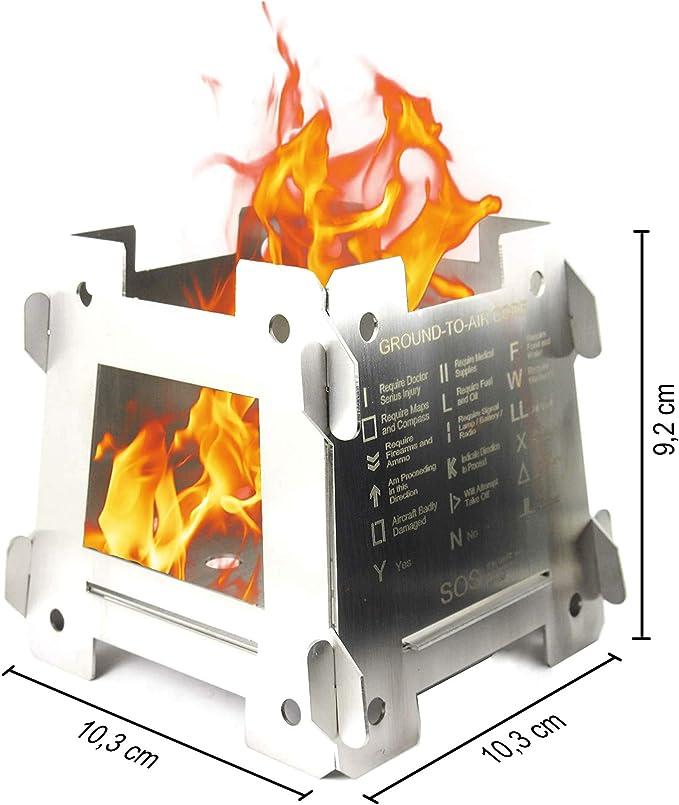 JEO-TEC Hornillo Acampada Portátil Plegable - Ligero de Acero Inoxidable para el Senderismo Trekking Cámping Picnic Outdoor Cocina Barbacoa y ...