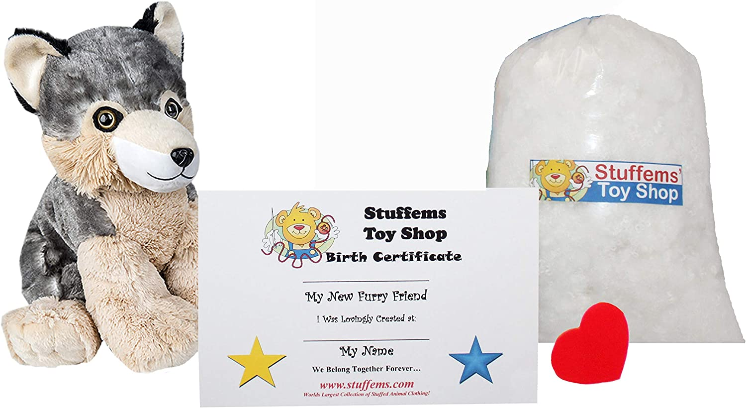 Make Your Own Stuffed Animal Mini 8 Inch Timber The Wolf Kit - No Sewing Required!