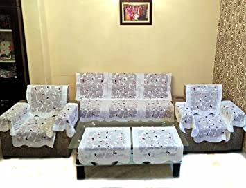 Vivek Homesaaz Multi Embossed Net Sofa Cover Set -16 Pieces