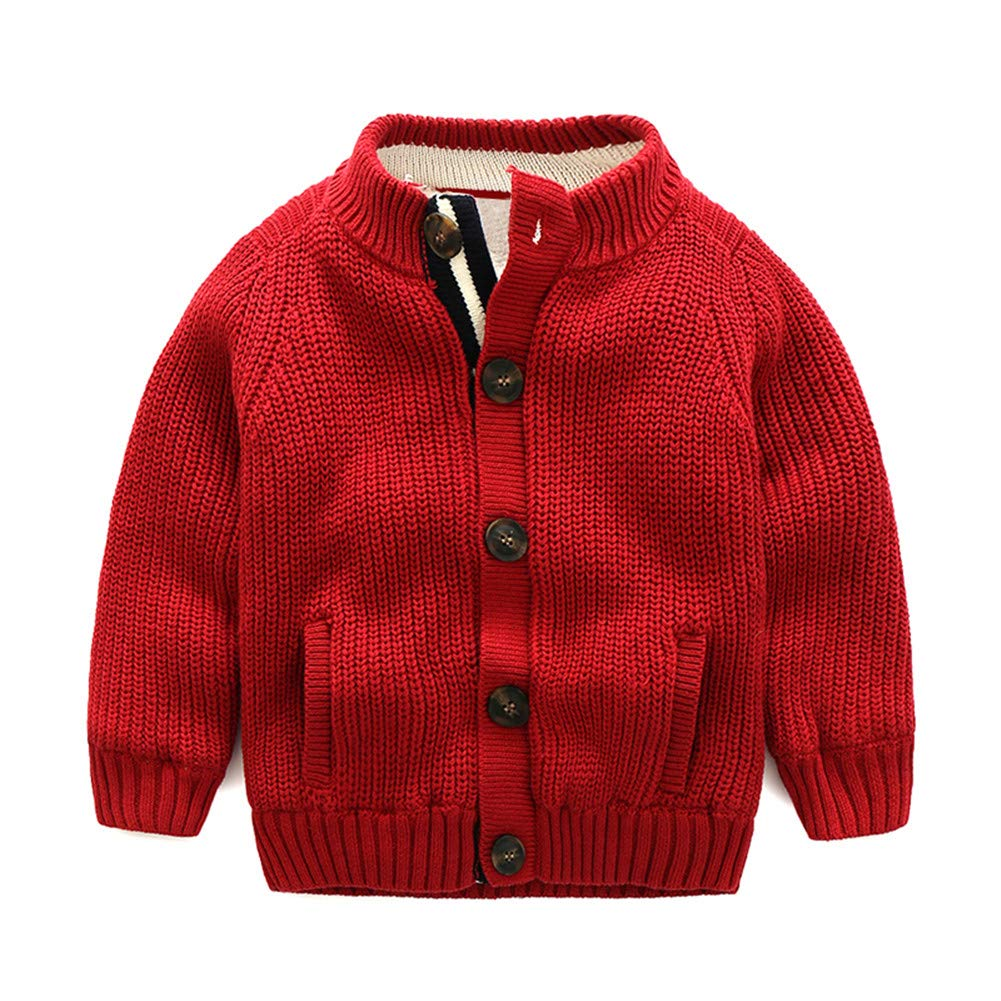 UWESPRING Little Boys Christmas Sweaters Sherpa Lining Button Closure Red 7T