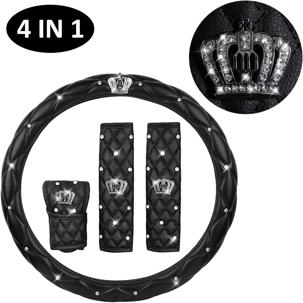 IYOYI Universal Protection Cover Set : Bling Steering Wheel Cover for Woman 2PCS Car Seat Belt Shouldads Gear Shift Cover Bling Crown Decor Car Accessories (4PCS-Leather)