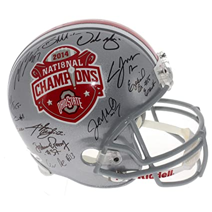 4cda793ce94c 2014 Ohio State Buckeyes Team Autographed Signed 2014 National Championship  Commemorative Silver Full Size Replica Helmet