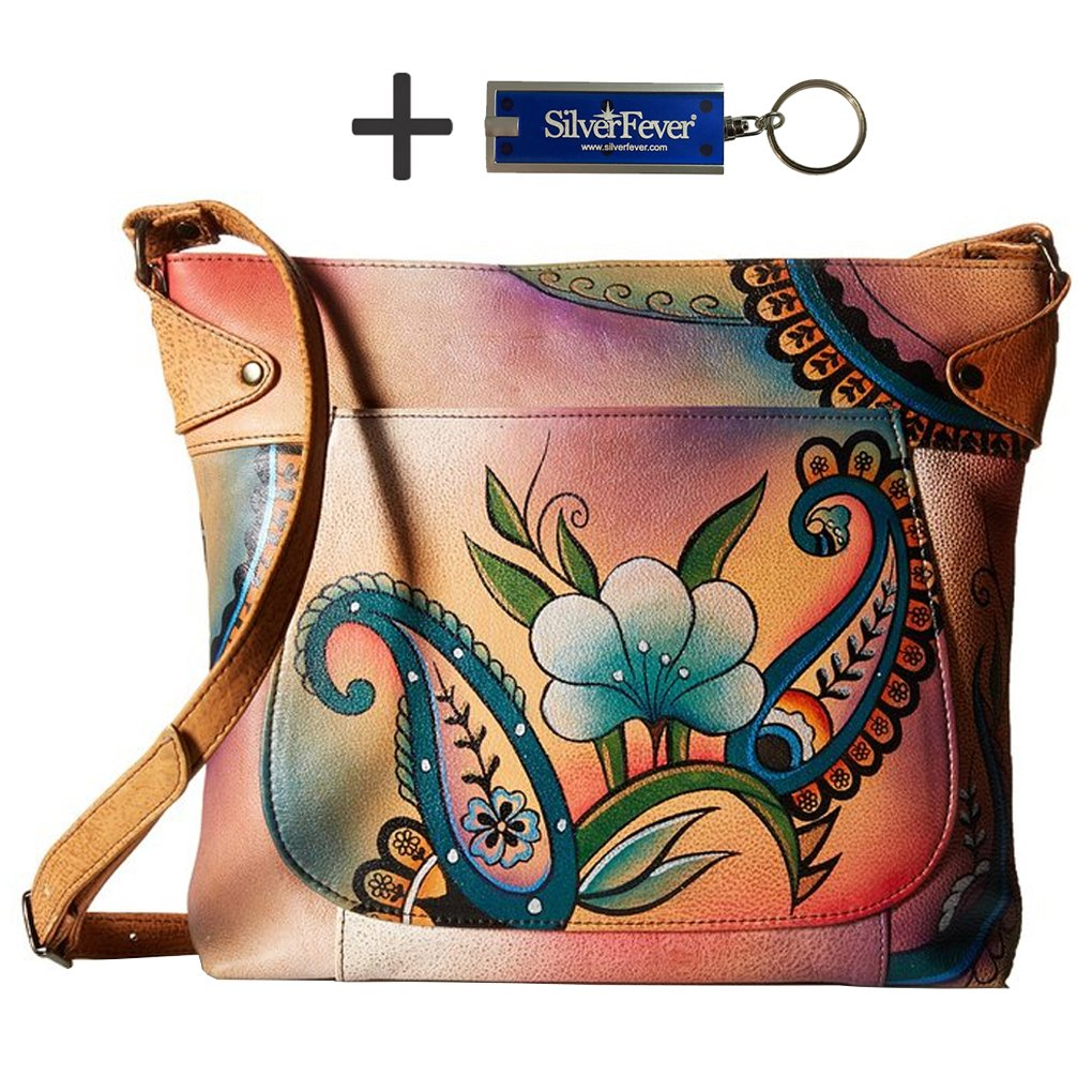 Anna by Anuschka Cross Body Handbag & Key Chain (Medium-1 Floral Paisley)