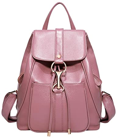 186f7eba53 Amazon.com  BOYATU Real Leather Backpacks Purse for Women Ladies Fashion  Travel Shoulder Bag (Taro Pink)  Boyatu