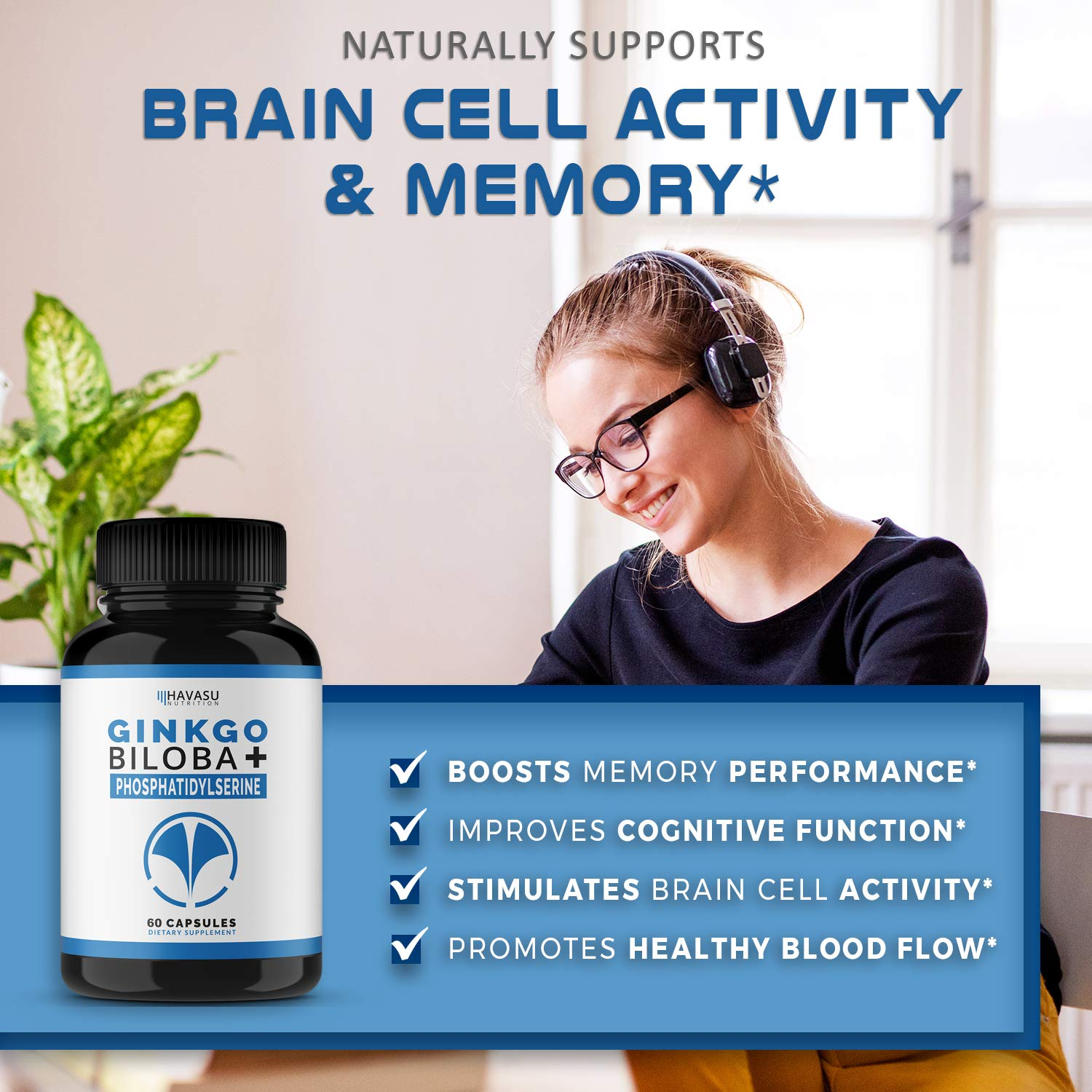 Havasu Nutrition Ginkgo Biloba Non-GMO 120mg, Supports Brain Health, Mental Alertness, Memory & Focus - 60 Capsules