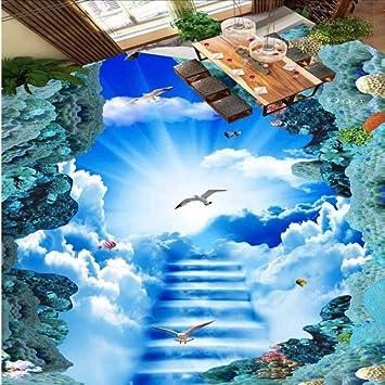 Lsfhb Nube Personalizada Escalera Cielo Cielo 3D Pintura Autoadhesiva Engrosada Impermeable Lobby Lobby Papel Tapiz Mural: Amazon.es: Bricolaje y herramientas