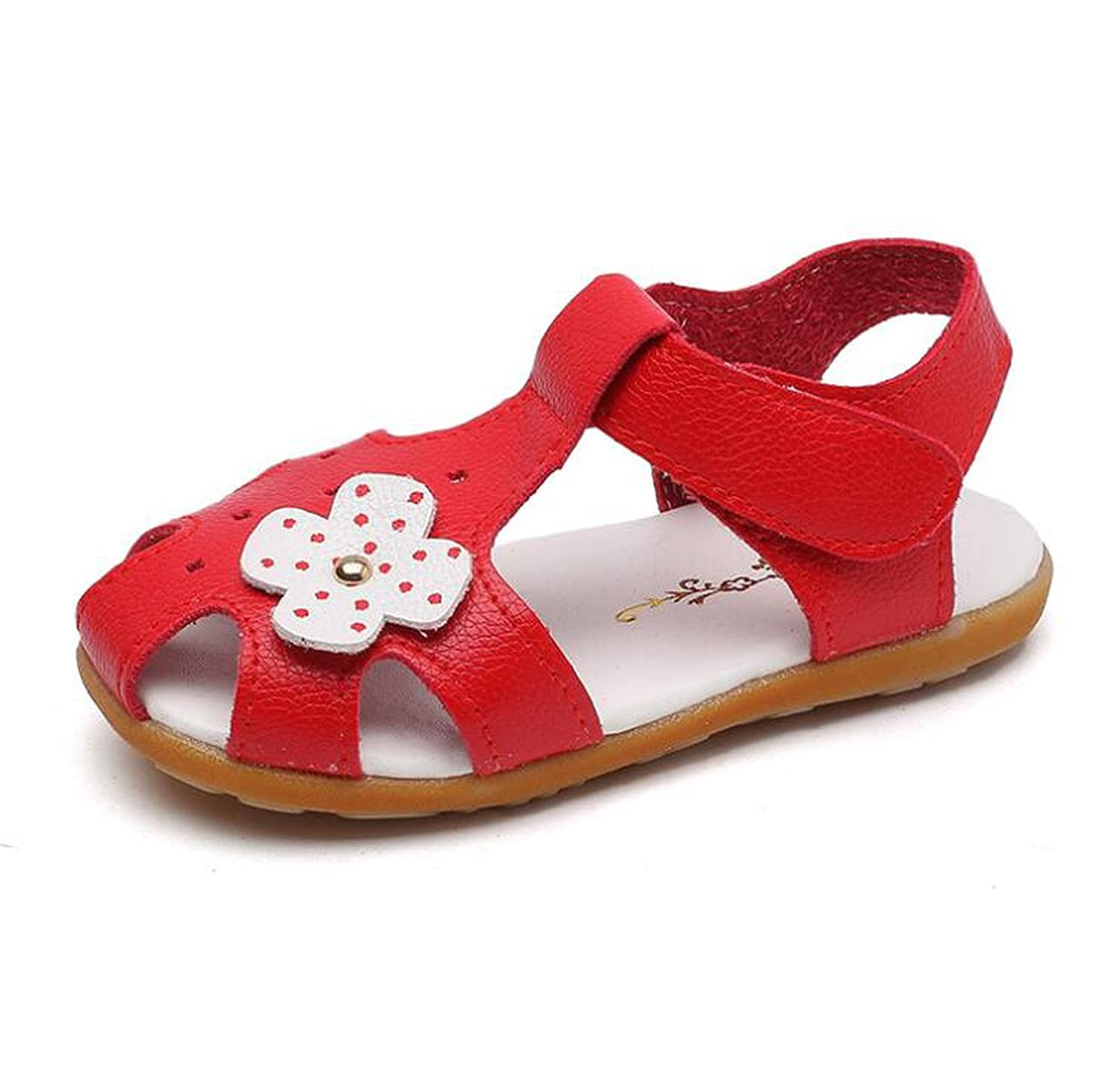 Kinggolder Baby Toddler Girl Sandals Cute Sweet Flowers Girls Sandals Summer Shoes Red 10.5