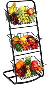 Finnhomy 3 Tier Market Basket,Storage Basket Organizer, Fruit Vegetable Produce Metal Hanging Storage Bin for Kitchen,Bathroom Tower Baskets Stand