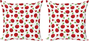 """Ambesonne Apple Throw Pillow Cushion Cover Pack of 2, Vivid Colored Cartoon Style Ripe Red Apples Vitamins Taste Healthy Food, Zippered Double-Side Digital Print Decor, 16"""", White Green"""