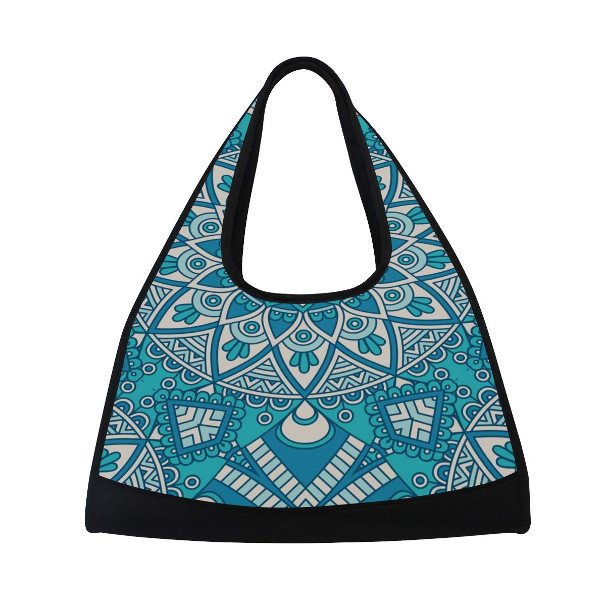 Boho Style Floral Texture Women Sports Gym Totes Bag Multi-Function Nylon Travel Shoulder Bag