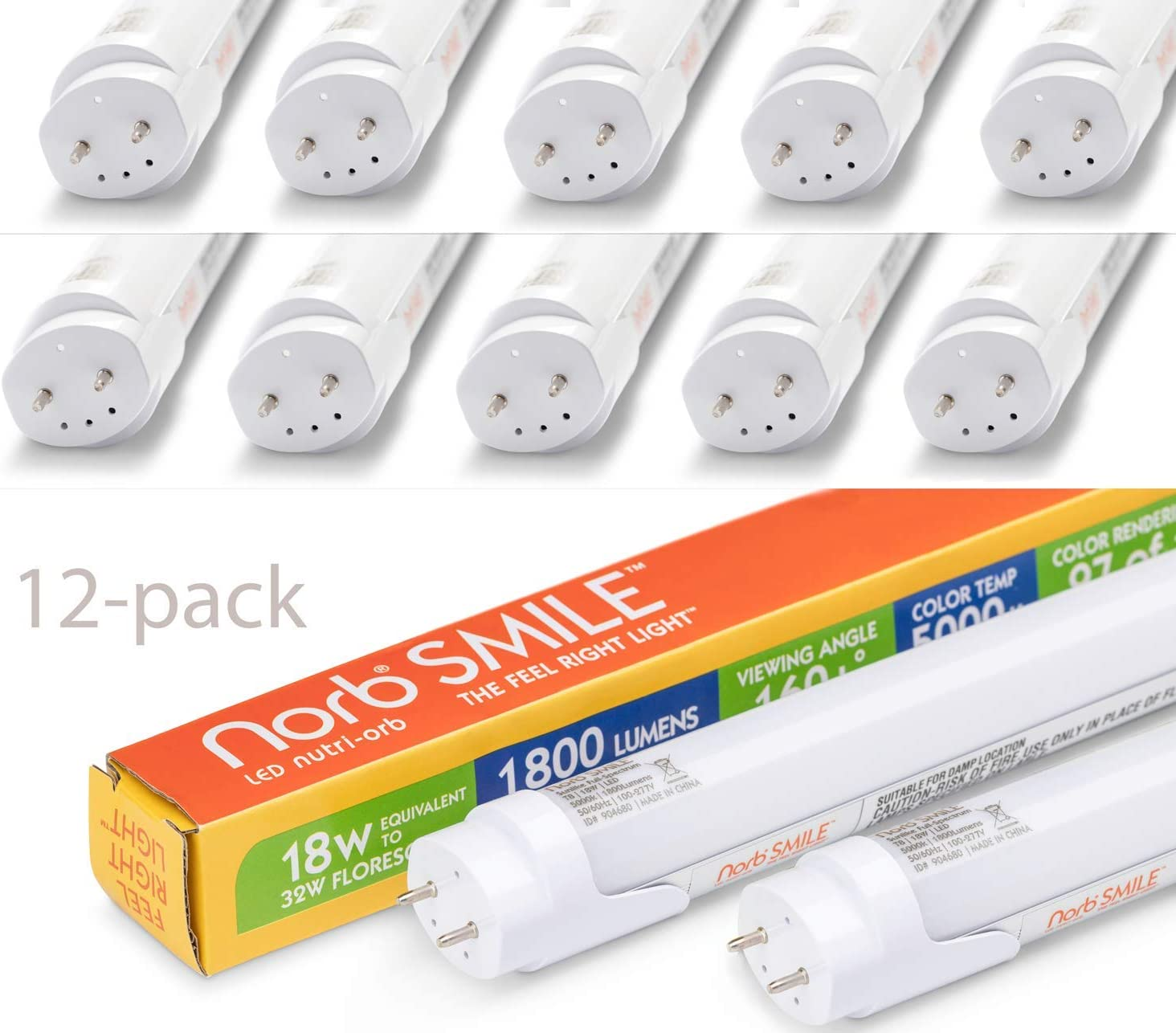 Fluorescent Bulb Replacement Near Perfect Natural Color Supplement to SAD Light Advanced Full Spectrum T8 48 LED Bulb Sunlike Spectrum for Mood Performance Energy