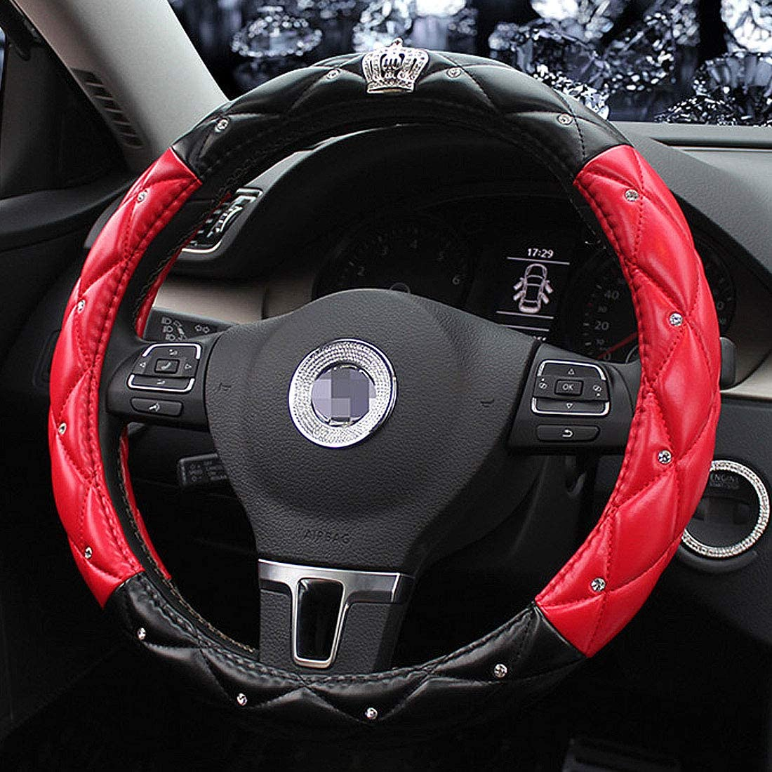 Queens Auto Steering Wheel Cover with Noble Crown QUEEN ONLY Bling Diamond Elegant Car Series Universal 15//38cm Exquisite Lattice Design Purple /& White Soft Leather Stylish