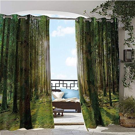 GUUVOR Outdoor- Cortina de privacidad para Exteriores, diseño de pájaro en Ramas de árbol, Color Verde Oliva y Crema: Amazon.es: Jardín