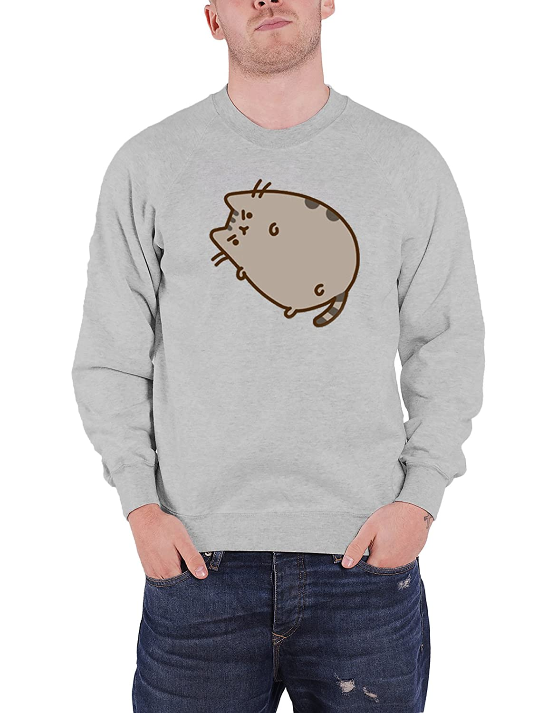 Pusheen Sweatshirt Grumpy Tabby Cat Cartoon Character offiziell Nue Unisex Grau