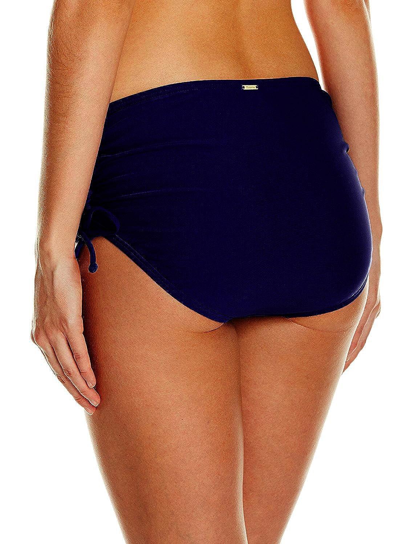a1b56c1420a14c Amazon.com  Ducone Women s Side Shirred Adjustable High Waist Bikini Bottom  Navy Blue Size XX-Large  Clothing