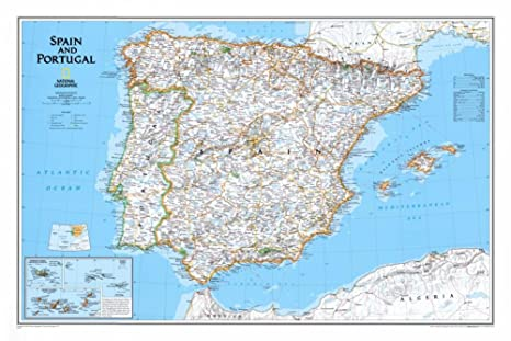 amazon com map of spain and portugal poster 33 x 22in office products