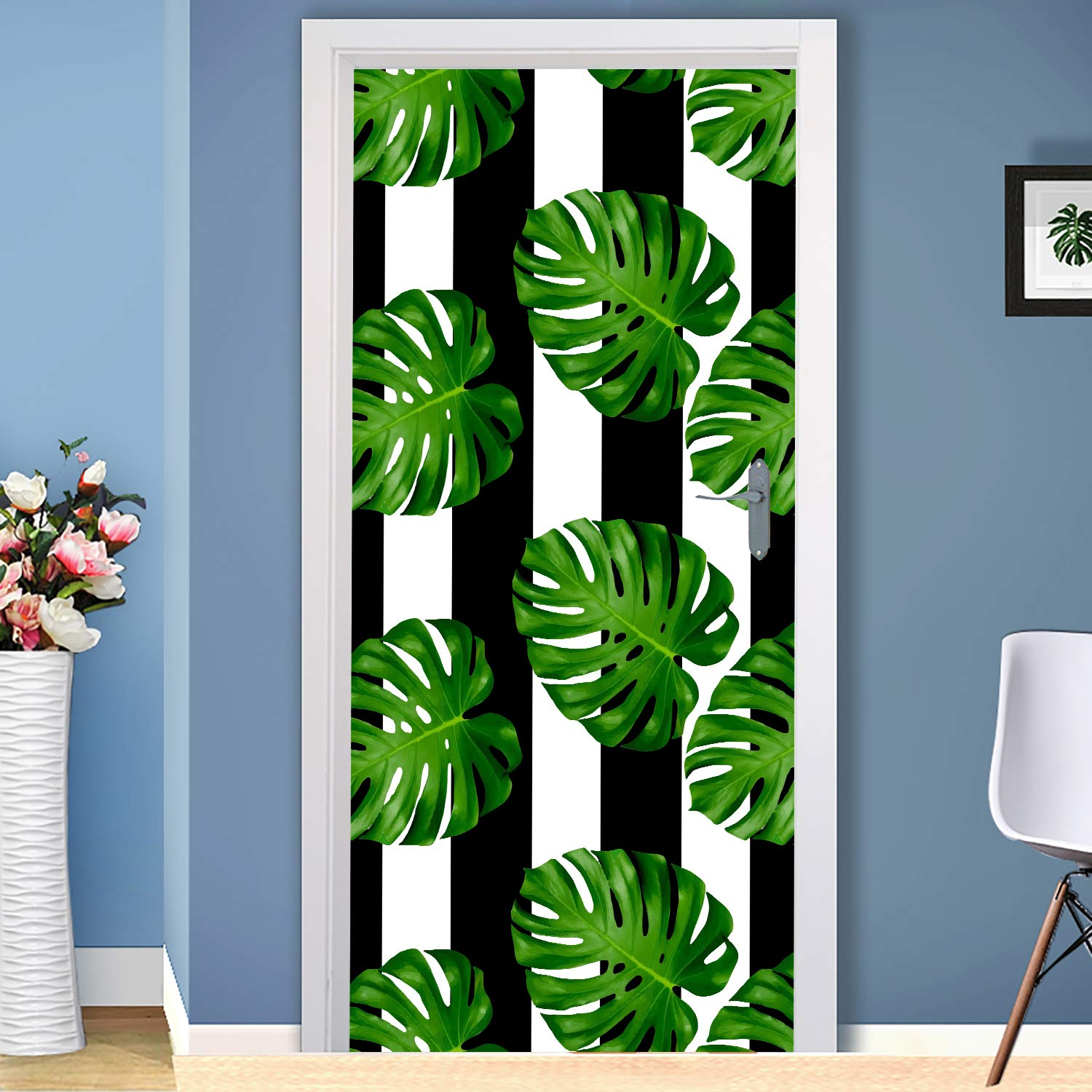 Amazon Com Tropical Green Leafs Door Tropical Leaves Stickers Vinyl Cover Decor For Entry Door Tropical Bedroom Decor Nd81 Handmade