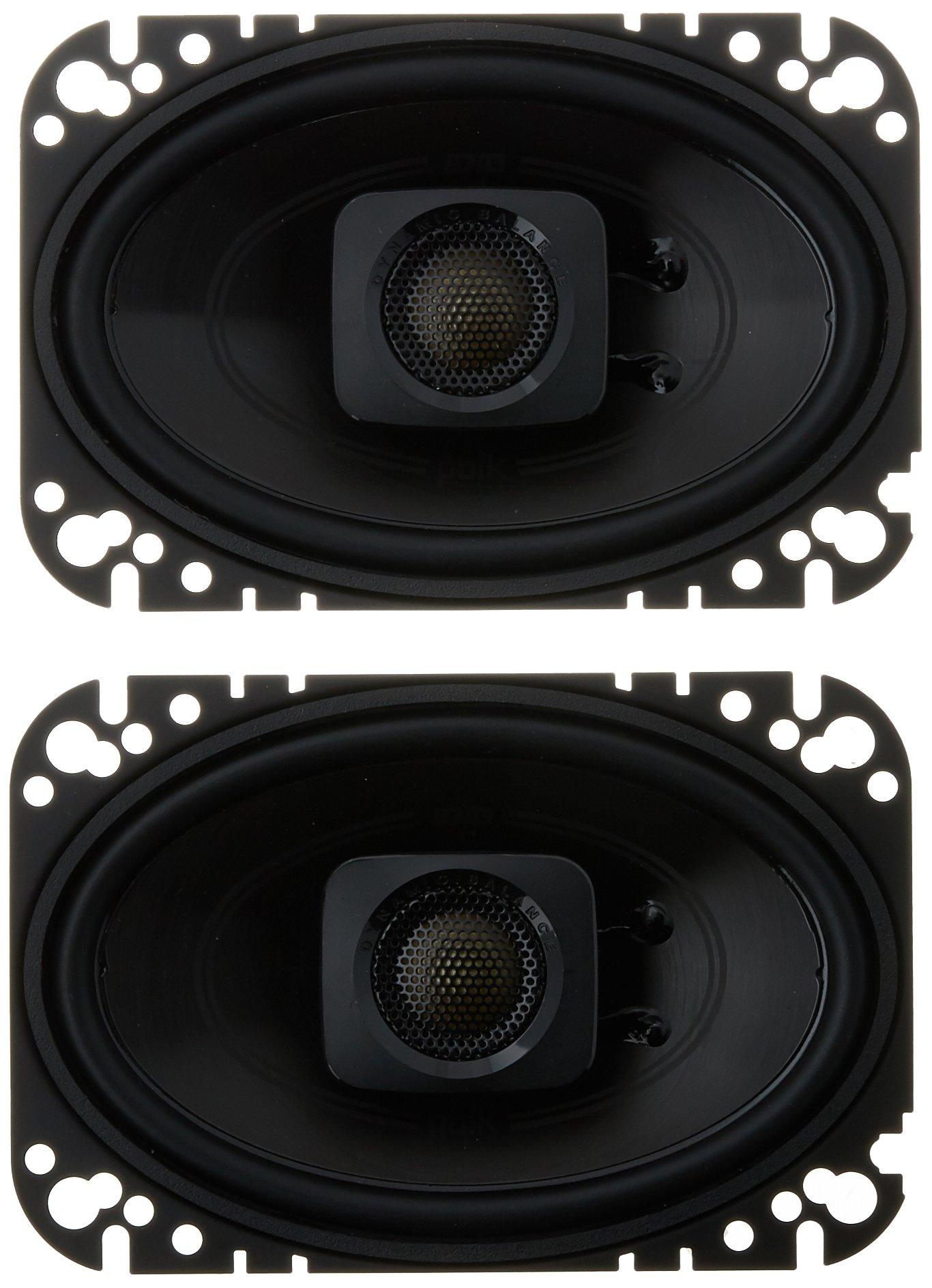 "Polk Audio DB462 DB+ Series 4""x6"" Coaxial Speakers with Marine Certification, Black"