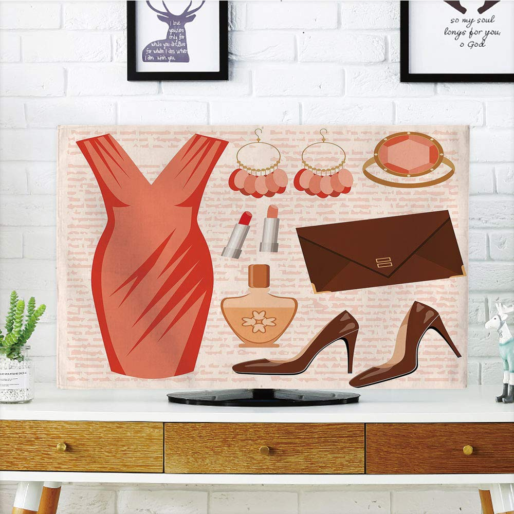 LCD TV dust Cover,Heels and Dresses,Accessories Fashion Cocktail Dress Lipstick Earrings High Heels Decorative,Salmon Brown Peach,3D Print Design Compatible 70'' TV