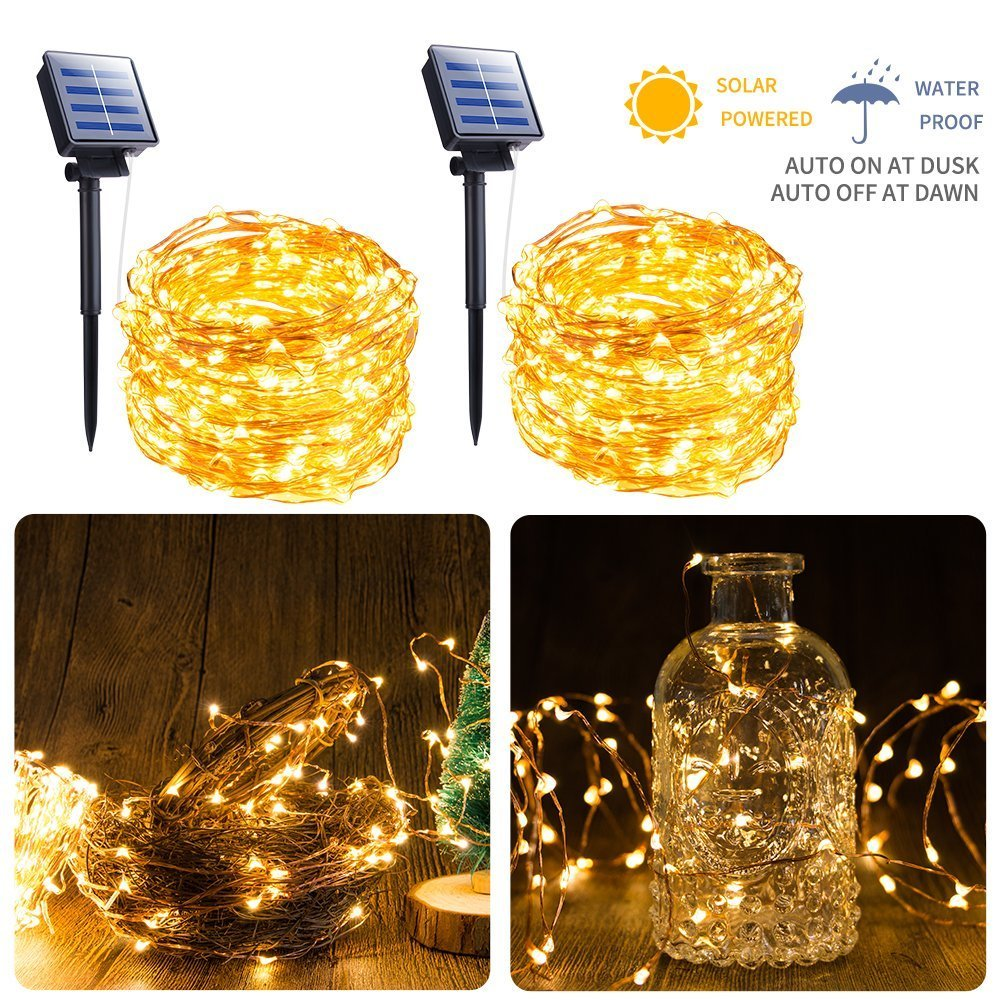 2-Pack Solar String Lights, 33FT 100 LED Solar Fairy Lights, 8 Modes Copper Wire Mini Light String, Outdoor Solar Decoration Lights for Patio Garden Yard Trees Christmas Wedding Party, Warm White