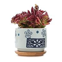 T4U 7CM Ceramic Succulent Cactus Planter Pot Set Bamboo Tray - Japanese Style, Home Office Decoration Desktop Windowsill Bonsai Pots Gift Wedding Birthday Christmas