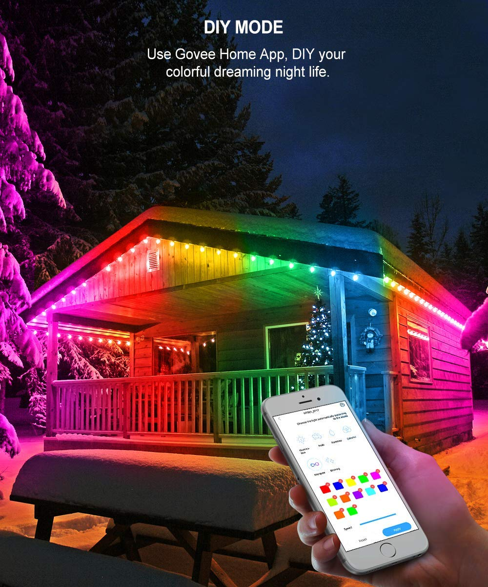DIY, RGBW, Sync to Music 36Ft 12 Bulbs Dimmable Color Changing Hanging Light for Patio Commercial Grade Party Holiday Waterproof Led Outdoor String Lights Govee DreamColor Cafe Lights with APP