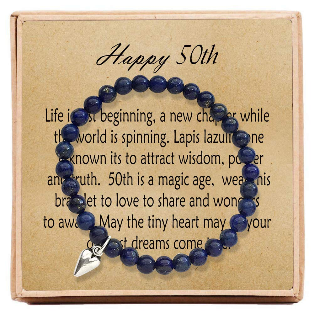 OFGOT7 50th Birthday Gifts for Women Turning 50 - Bead Bracelet with Message Card & Gift Box - Fiftieth by OFGOT7
