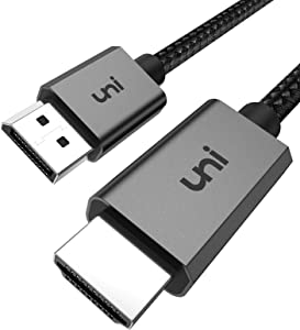 DisplayPort to HDMI Cable, uni DP to HDMI Cable (4K UHD ) Uni-Directional Display Port to HDMI Connector [Nylon Braided, Aluminum Shell] Compatible for HP, DELL, GPU, AMD, NVIDIA and More-6.6ft