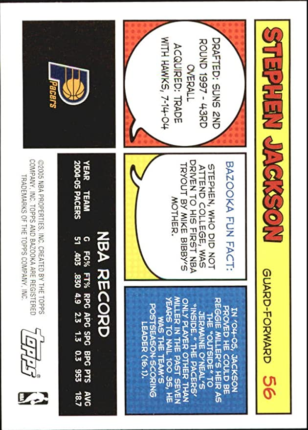 2005-06 Bazooka #56 Stephen Jackson at Amazon's Sports