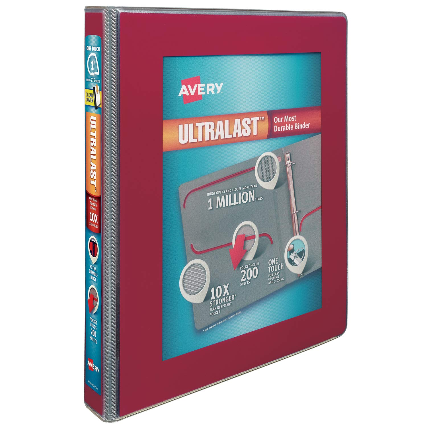 Avery Ultralast Binder with 1-1/2 One Touch Slant Rings, Red (79713) Avery Products Corporation